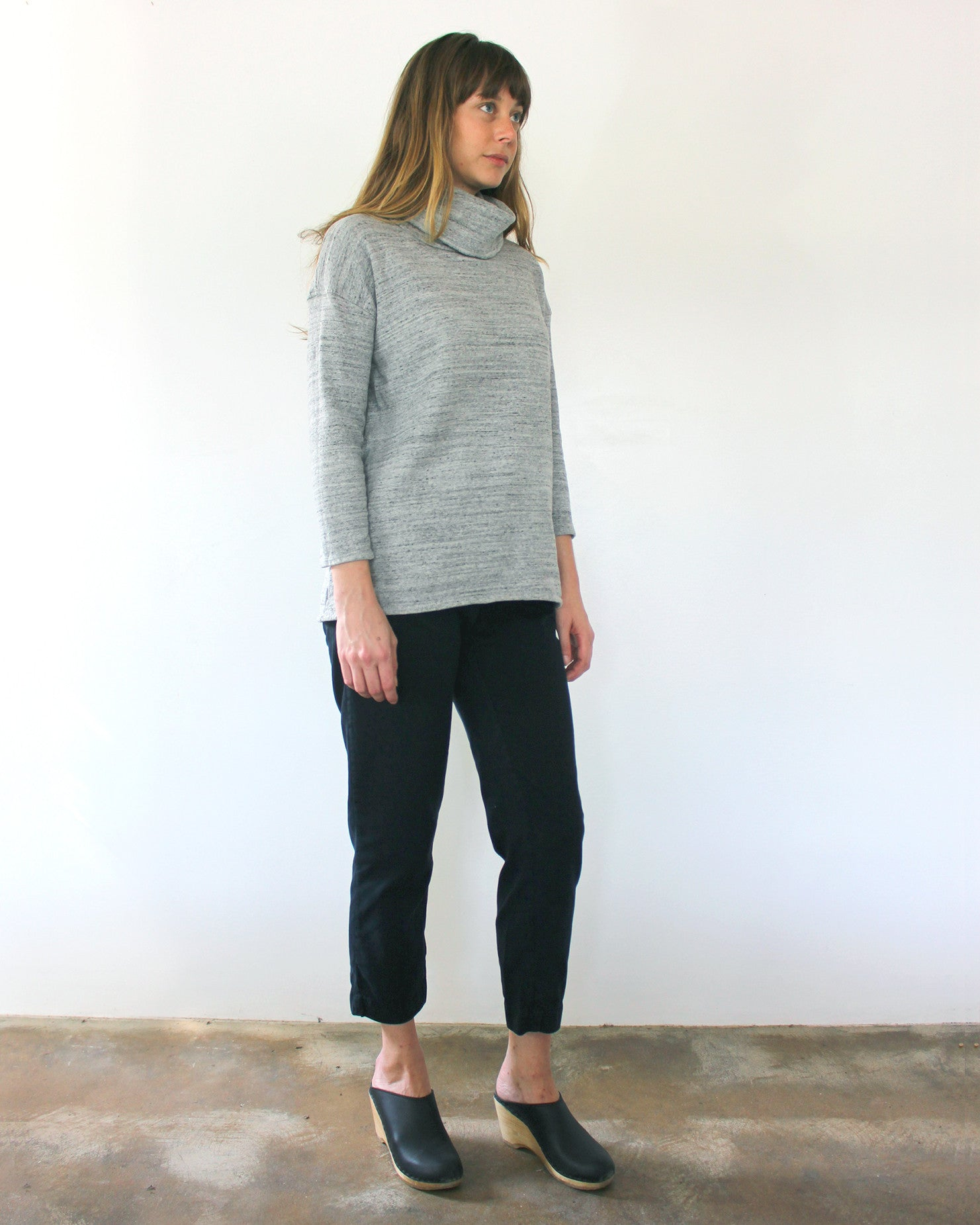heather grey terry cotton turtleneck