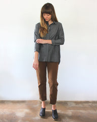 grey long sleeve button down