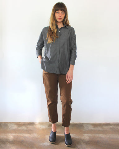 STELLA L/S BUTTON DOWN - CHARCOAL