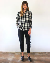 black and white plaid long sleeve button down