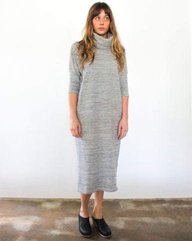 TARA TURTLENECK DRESS - HEATHER GREY