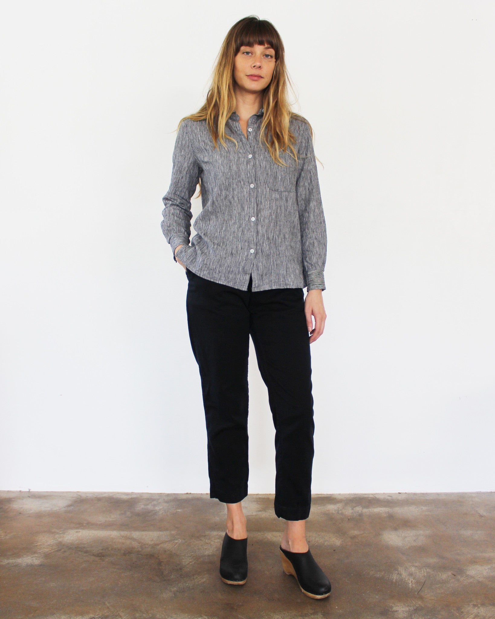 black and white linen cotton button down top