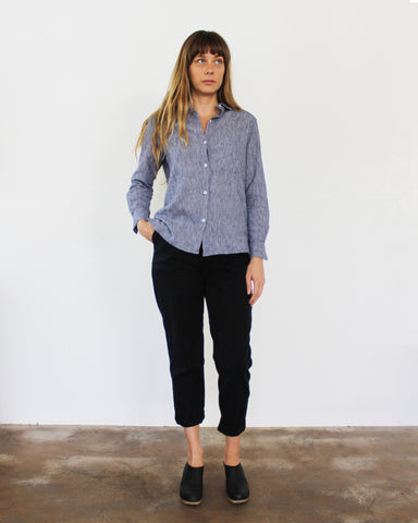 WEST LAKE BUTTON DOWN - INDIGO STRIPE
