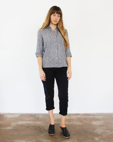 WEST LAKE BUTTON DOWN - BLACK STRIPE