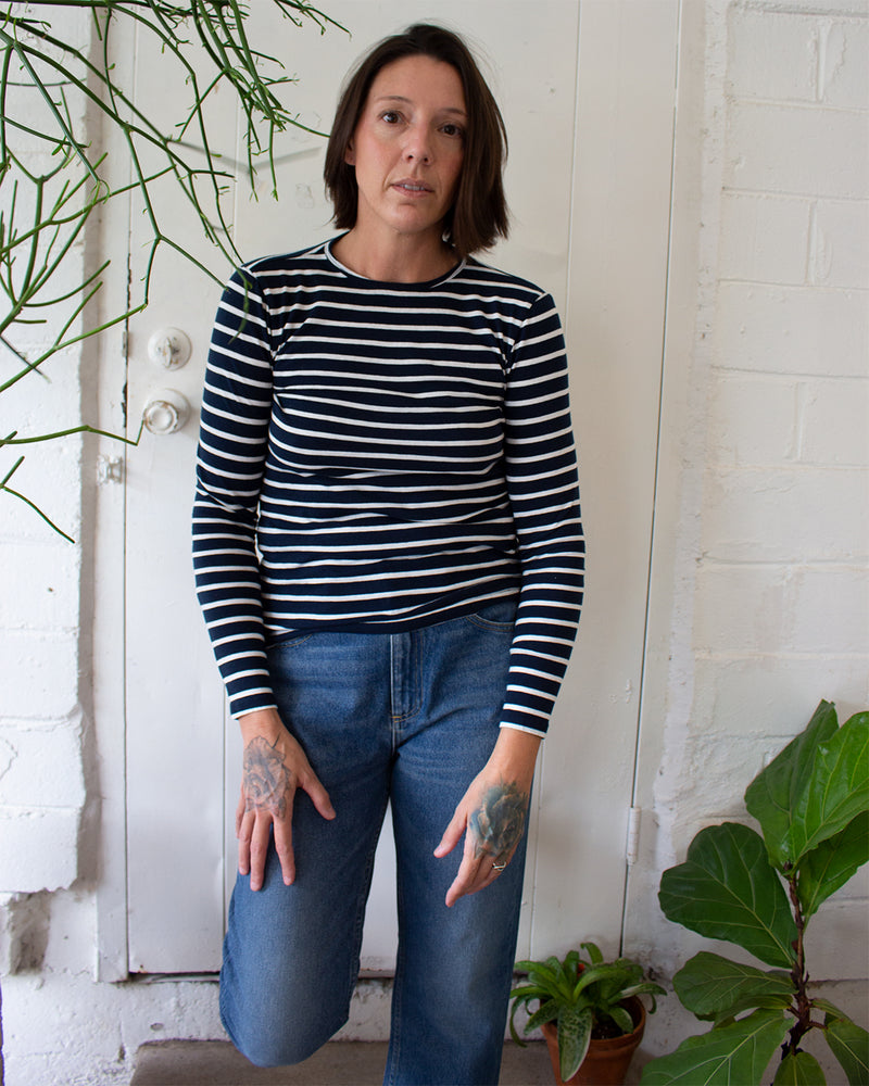 SHEA TOP - MIDNIGHT/WHITE STRIPED