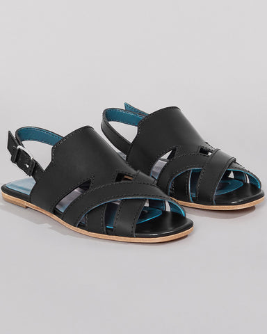 WILDER SHOES - HAZEL SANDAL - BLACK VACHETTA