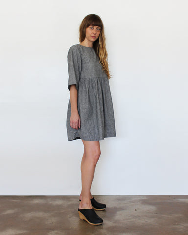 WILLOW BABYDOLL DRESS - GREY STRIPE