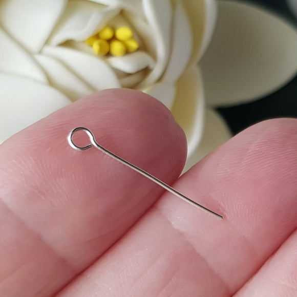 Eye Pins 20mm - 24 gauge (0.5mm) Sterling Silver (10pc Pack) | SS-GF520/EP | Jewellery Making Supply - Kalitheo