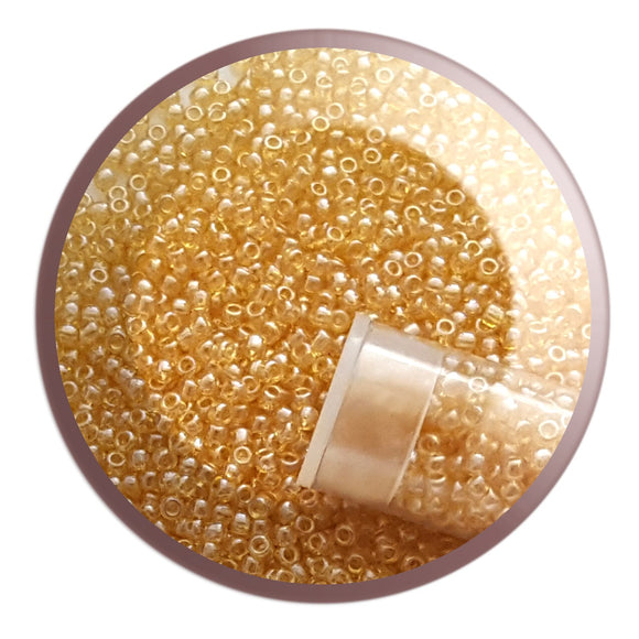 11/0 TR-103 Light Topaz Lustre Round Toho Seed Bead - Beading Supply - Kalitheo Creations