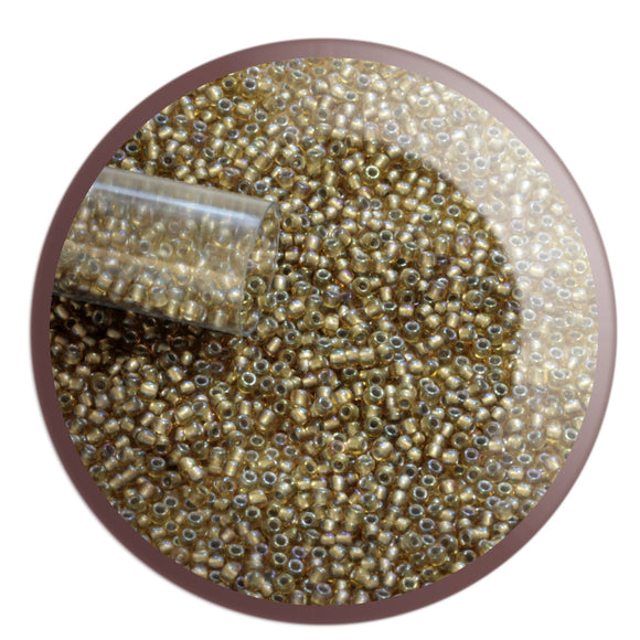 11/0 TR-279 Light Topaz Rainbow Grey Lined Round Toho Seed Beads - Beading Supply,  Kalitheo BeadsNWire,