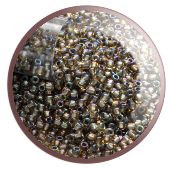 11/0 TR-281 Topaz Rainbow Olive-vine Lined Round Toho Seed Beads - Beading Supply - Kalitheo Creations