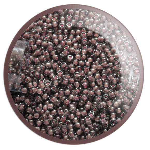 11/0 TR-367 Black Diamond Pink Lined Lustre Round Toho Seed Beads - Beading Supply - Kalitheo Jewellery