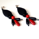 KTC-380 Stunning Statement Earrings - Black Agate - Red Howlite - Free Shipping,  Kalitheo Jewellery,