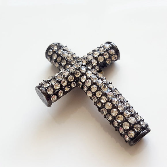 F-BM002 Black Base Metal Cross with white crystals - Jewellery Making Supply - Kalitheo Creations
