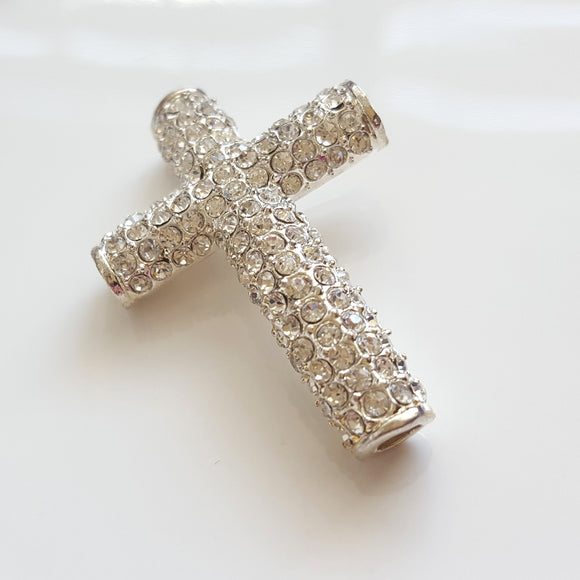 F-BM003 Silver Base Metal Cross Connector Separator Bar white crystals - Kalitheo Creations