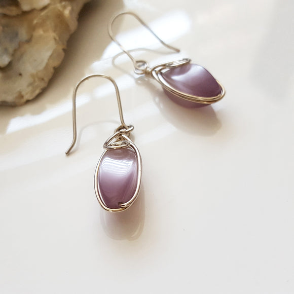KJ-005 Cats Eye Wire Wrapped Earrings,  Kalitheo Jewellery,