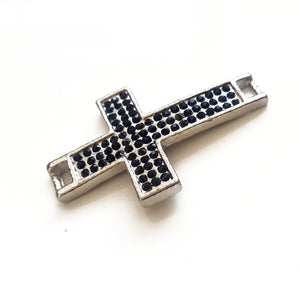 F-BM005 Base Metal Cross Connector in Silver with Black Diamante - Kalitheo Creations