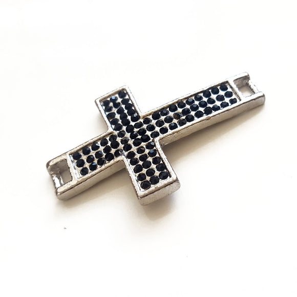 F-BM005 Base Metal Cross Connector in Silver with Black Diamante,  Kalitheo BeadsNWire,