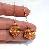 Orange Statement 14kt Gold-filled Earrings | KJ-013E | Artisan Earrings - Kalitheo Jewellery