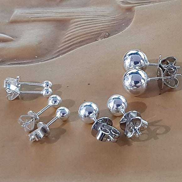Sterling Silver 925 Ball Stud Earrings | (KJ-372E),  Kalitheo Jewellery,