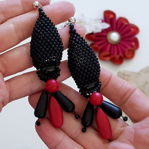 KTC-380 Stunning Statement Earrings - Black Agate - Red Howlite - Free Shipping - Kalitheo Creations
