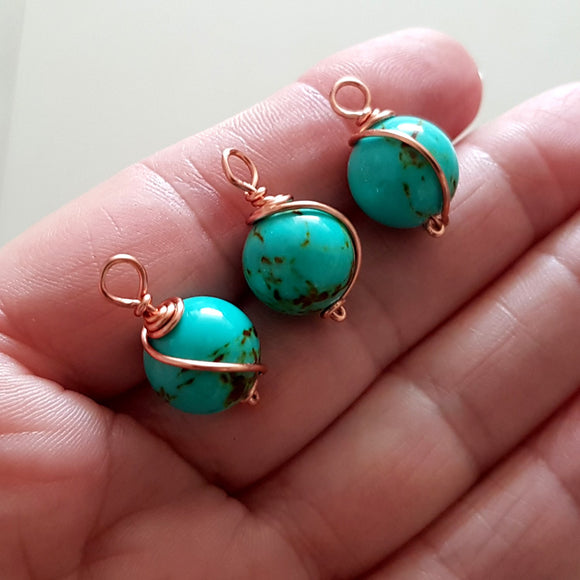 F-WW-001C Blue Turquoise Copper Wrapped Dyed Stone 12 mm Drop/Dangle - Jewellery Making Supply,  Kalitheo BeadsNWire,