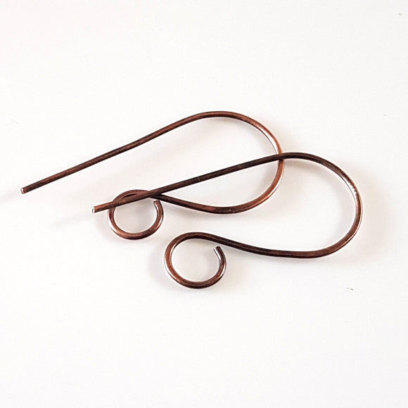 F-C008/EH Ear Wires, Oxidised Copper Large Shepherds Hooks - Jewellery Making Supply - Kalitheo Creations