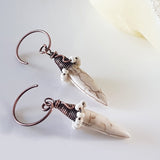 KJ-395E Copper Wire Wrapped White Howlite Spike - Handmade Artisan Jewellery - Kalitheo Creations