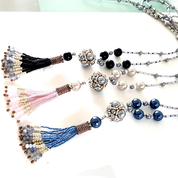 The Enchanted Ball Artisan Necklace in Pink Blue & Black | Kalitheo