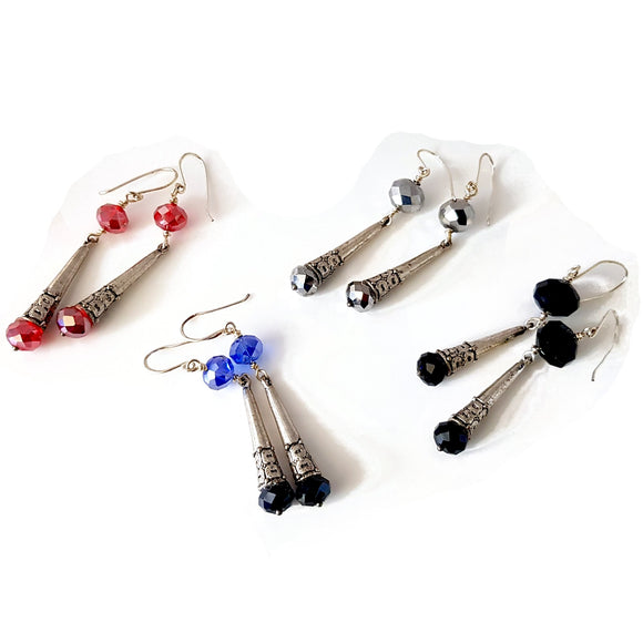 Long Cone & Crystal Dangle Artisan Earrings | KJ-416E - Kalitheo Jewellery