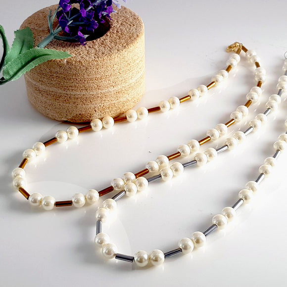 Pearl Necklace - Gift Idea | KJ-407N | Artisan Necklace - Kalitheo