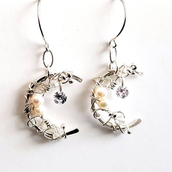 Crescent Moon Silver 925 & Freshwater Pear Artisan Earrings | Kalitheo