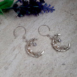 Sterling Silver Crescent Moon Sparkling Earrings