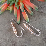 Golden Sparkle - Silver 925 Safety Pin Artisan Earrings | Kalitheo