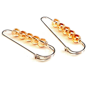 Sterling Silver Golden Glass Beads Safety Pin Artisan Earrings