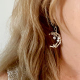 Crescent Moon Artisan Earrings Worn Close Up | Kalitheo