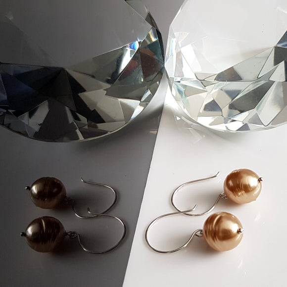 Sterling Silver Pearl Drop Earrings - Champagne Gold Pearl | KJ-420E