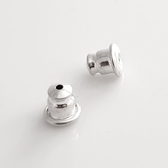 Sterling Silver Bullet Style Ear Backs with Memory Rubber Inserts | SS-007B/EB | Earring Finding