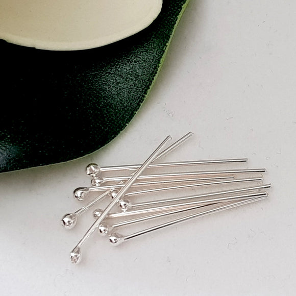 Headpins 20 mm (10pcs)- 21 gauge (0.7 mm) Sterling Silver | SS-GF720/10HP | Jewellery Making Supply - Kalitheo