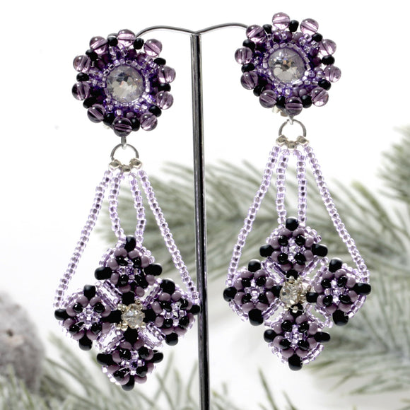 Aurora Sparkles - Beautifully Beaded Long Dangle Clip-on Earrings | Litsa Collection | (KJ-367E) Handmade Earrings - Kalitheo Jewellery