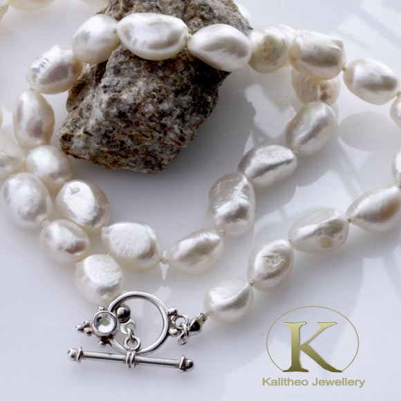 Baroque Freshwater Pearl Handmade Necklace| KJ-283N - Kalitheo Creations
