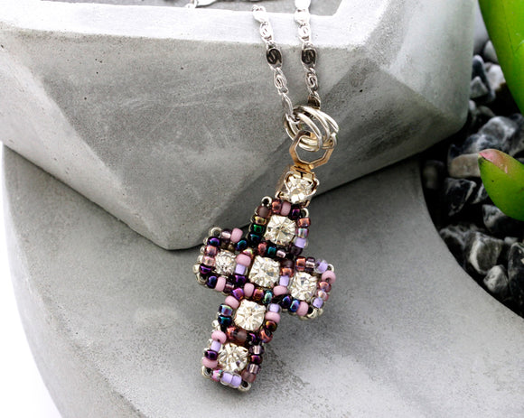 Beaded cross view 1 - Kalitheo Jewellery