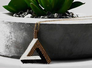 KJ-014 Geometrical Beaded Pendant - Kalitheo Creations
