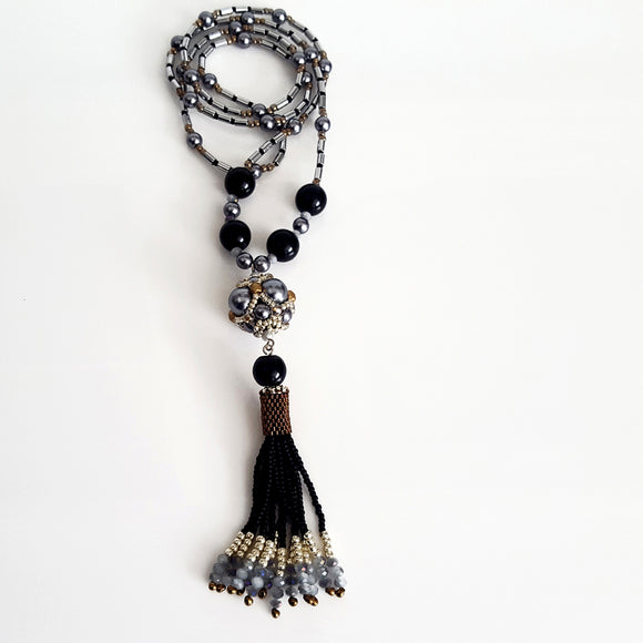 The Enchanted Ball Necklace - Black Beaded Tassel  Statement Necklace | (KJ-390N/BLK ) Handmade Necklace,  Kalitheo Jewellery,