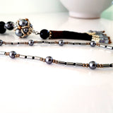 The Enchanted Ball Necklace - Black Beaded Tassel  Statement Necklace | (KJ-390N/BLK ) Handmade Necklace - Kalitheo Creations