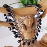 Classic Teardrop Beauty - Black Teardrop Fringe Silver Necklace | (KJ-399N) Handmade Necklace - Kalitheo Jewellery