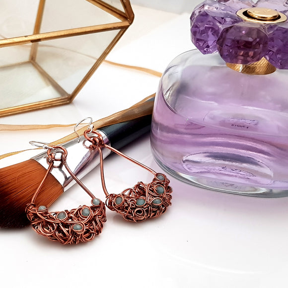 Teardrop Tangled Copper Earrings - (KJ-403E) Handmade Earrings - Kalitheo Creations