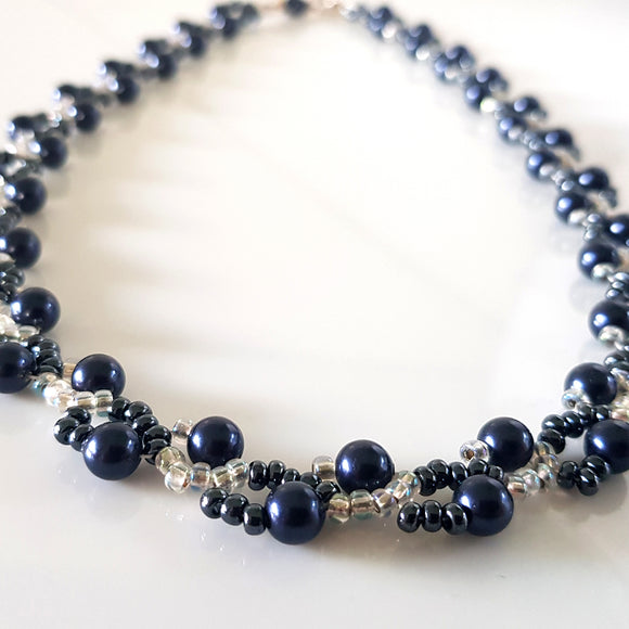 Dancing Clouds - Swarovski Dark Blue Pearl Beaded Necklace | (KJ-378N) Handmade Designer Necklace - Kalitheo Creations