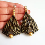 Goddess Leaf Earrings - Gold Metallic Suede with Gold Pearl | (KJ-386E/GMS) Handmade Earrings,  Kalitheo Jewellery,