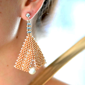 Goddess Leaf Earrings - Rose Gold Beaded | (KJ-386E/RG) Handmade Earrings,  Kalitheo Jewellery,